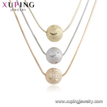 44700 xuping ancient royal three long necklaces design with three bead pendants